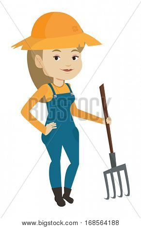 Happy farmer in summer hat standing with a pitchfork. Smiling caucasian farmer holding a pitchfork. Young farmer working with a pitchfork. Vector flat design illustration isolated on white background.
