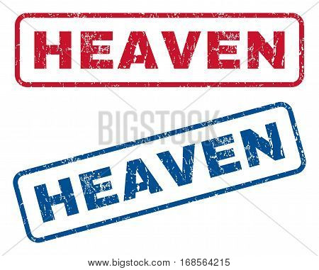 Heaven text rubber seal stamp watermarks. Vector style is blue and red ink caption inside rounded rectangular shape. Grunge design and dust texture. Blue and red signs.