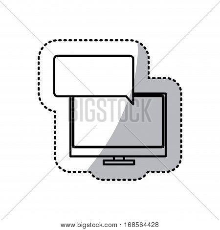 sticker silhouette tech screen computer in wide flat dialogue callout box vector illustration