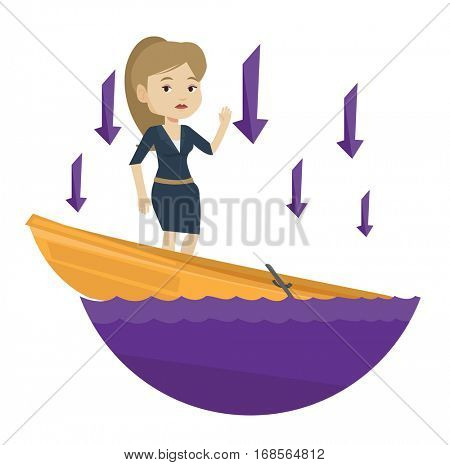 Young caucasian business woman bankrupt standing in sinking boat and arrows behind her pointing down symbolizing business bankruptcy. Vector flat design illustration isolated on white background.