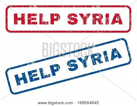Help Syria text rubber seal stamp watermarks. Vector style is blue and red ink caption inside rounded rectangular shape. Grunge design and dirty texture. Blue and red emblems.