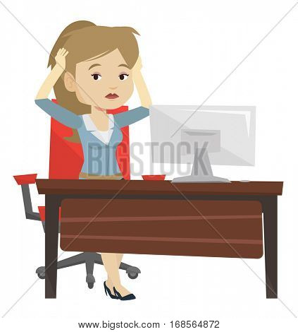 Stressed female office worker. Business woman feeling stress from work. Stressful employee sitting at workplace. Stress at work concept. Vector flat design illustration isolated on white background.