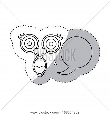 sticker contour face cartoon gesture with dialog circular box vector illustration