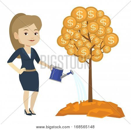 Caucasian businesswoman watering money tree. Businesswoman investing money in business project. Concept of investment money in business. Vector flat design illustration isolated on white background.