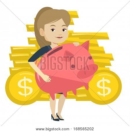 Caucasian business woman with a pink piggy bank. Business woman holding a big piggy bank . Business woman saving money in a piggy bank. Vector flat design illustration isolated on white background.