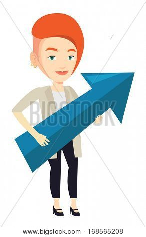 Businesswoman thinking about strategy of business growth. Woman holding big arrow representing business growth. Business growth concept. Vector flat design illustration isolated on white background.