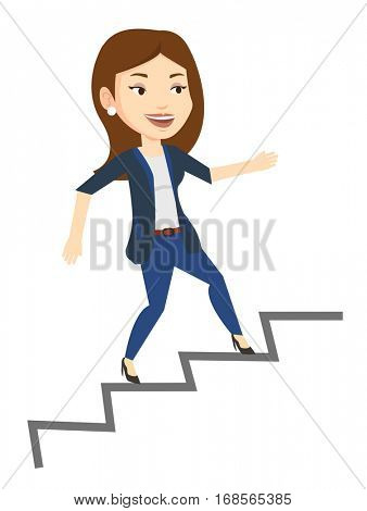Young caucasian business woman running up the career ladder. Happy business woman climbing the career ladder. Concept of business career. Vector flat design illustration isolated on white background.