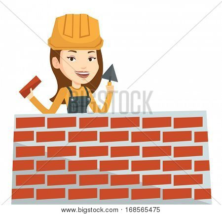 Bricklayer in uniform and helmet. Caucasian bicklayer working with spatula and brick on construction site. Bricklayer building brick wall. Vector flat design illustration isolated on white background.