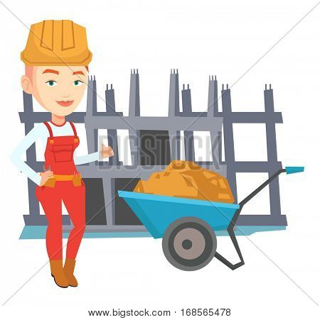 Young builder in hard hat giving thumb up. Caucasian builder with thumb up standing near wheelbarrow. Builder at work on construction site. Vector flat design illustration isolated on white background