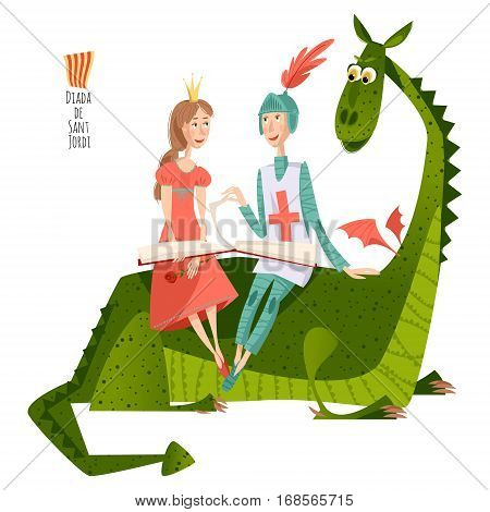 Princess and knight read a book sitting on a back of a dragon. Diada de Saint Jordi (the Saint George's Day).Traditional festival in Catalonia Spain. Vector illustration.