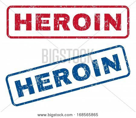 Heroin text rubber seal stamp watermarks. Vector style is blue and red ink caption inside rounded rectangular banner. Grunge design and dirty texture. Blue and red signs.