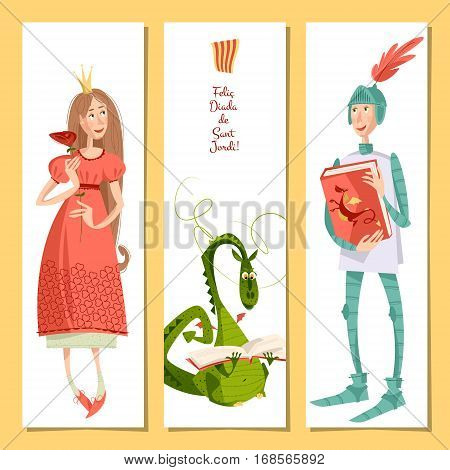 Set of universal cards with princess knight and dragon. Diada de Sant Jordi (the Saint George's Day). Congratulations. Template. Vector illustration