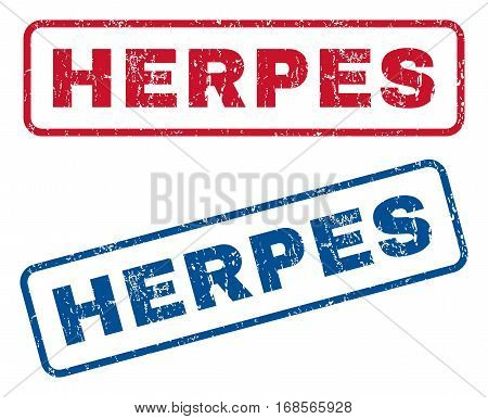Herpes text rubber seal stamp watermarks. Vector style is blue and red ink caption inside rounded rectangular shape. Grunge design and scratched texture. Blue and red signs.