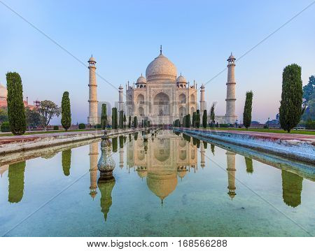 Taj Mahal in India in morning light