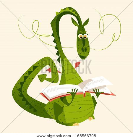 Dragon sitting and reading a book. Diada de Saint Jordi (the Saint George's Day). Traditional festival in Catalonia Spain. Vector illustration.