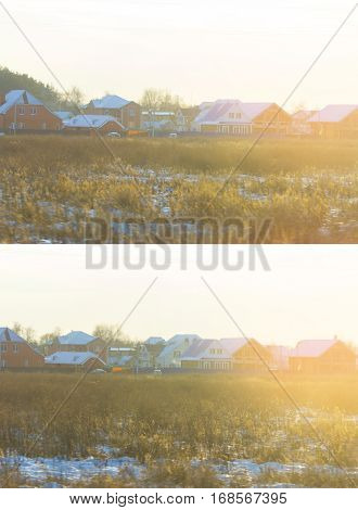 Picturesque traditional house amongst a carpet of yellow orange autumn grass sunset