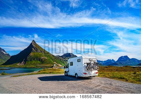 Family vacation travel, holiday trip in motorhome, Caravan car Vacation. Beautiful Nature Norway natural landscape. poster
