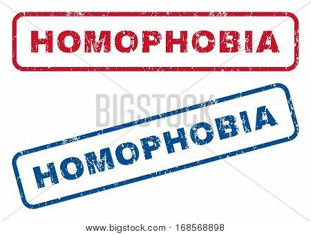 Homophobia text rubber seal stamp watermarks. Vector style is blue and red ink caption inside rounded rectangular shape. Grunge design and dirty texture. Blue and red stickers.
