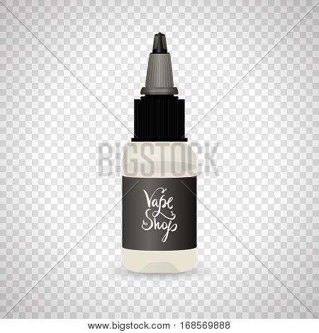 White vape bottle with liquid or aroma. Electronic cigarette accessorize with label. 3d object mockup for vaporizer design