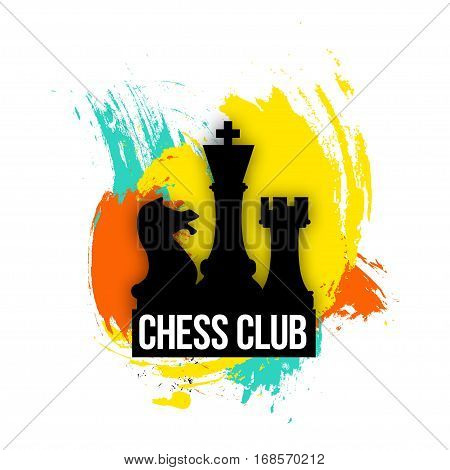 bright logo for a chess companies, club or a chess player. Emblem vector illustration on the colorful background