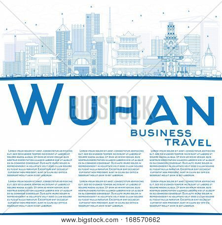 Outline Wuhan Skyline with Blue Buildings and Copy Space. Vector Illustration. Business Travel and Tourism Concept with Modern Architecture. Image for Presentation Banner Placard and Web Site.