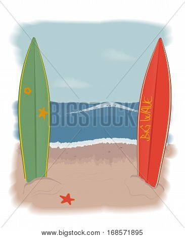 surfboards on the beach stuck in the sand. the seascape. vector illustration.