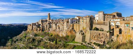 beautiful medieval town Pitigliano on tuff rocks in Tuscany, Italy
