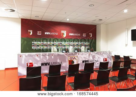Augsburg, Germany - September 2016: In the press-room at WWK Arena - the official stadium of FC Augsburg