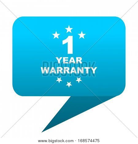 warranty guarantee 1 year blue bubble icon