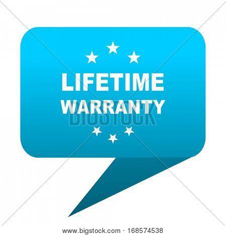 lifetime warranty blue bubble icon