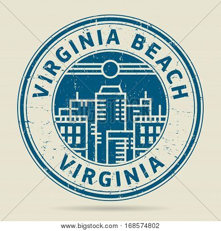 Grunge rubber stamp or label with text Virginia Beach Virginia written inside vector illustration