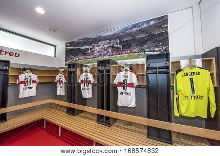 Stuttgart, Germany - September 2016: In the home changing room at Mercedes Benz Arena - the official stadium of FC Stuttgart