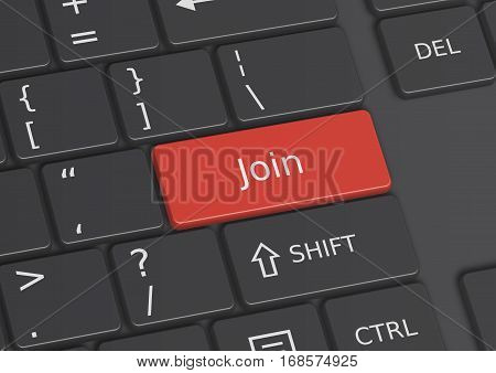 A 3D illustration of the word Join written on a red key from the keyboard