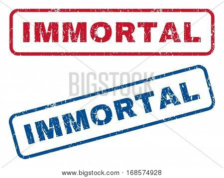 Immortal text rubber seal stamp watermarks. Vector style is blue and red ink tag inside rounded rectangular shape. Grunge design and scratched texture. Blue and red emblems.