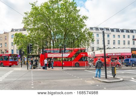LONDON, UNITED KINGDOM - June 21, 2016. Beautiful street view of business modern buildings in London, England, UK