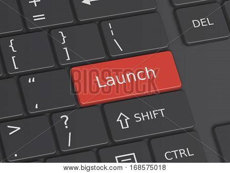 A 3D illustration of the word Launch written on a red key from the keyboard