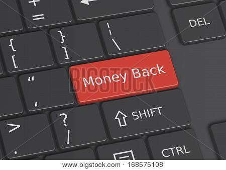 A 3D illustration of the words Money Back written on a red key from the keyboard