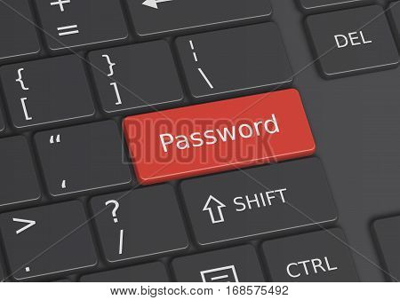 A 3D illustration of the word Password written on a red key from the keyboard
