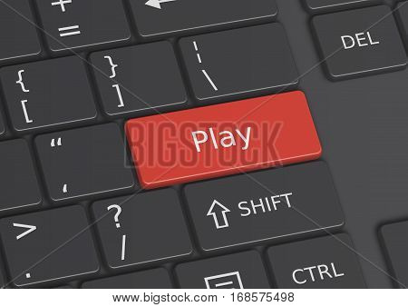 A 3D illustration of the word Play written on a red key from the keyboard