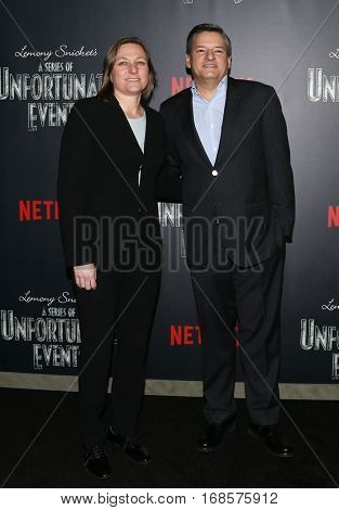 NEW YORK-JAN 11: Netflix vice president Cindy Holland (L) and Ted Sarandos attend the premiere of NETFLIX's Lemony Snicket's