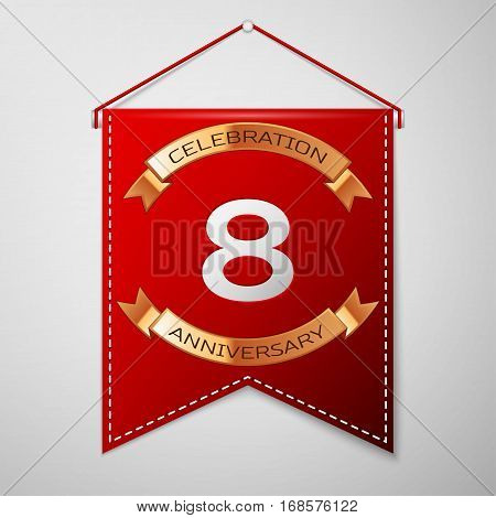 Red pennant with inscription Eight Years Anniversary Celebration Design over a grey background. Golden ribbon. Colorful template elements for your birthday party. Vector illustration