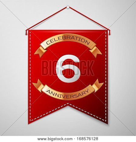 Red pennant with inscription Six Years Anniversary Celebration Design over a grey background. Golden ribbon. Colorful template elements for your birthday party. Vector illustration