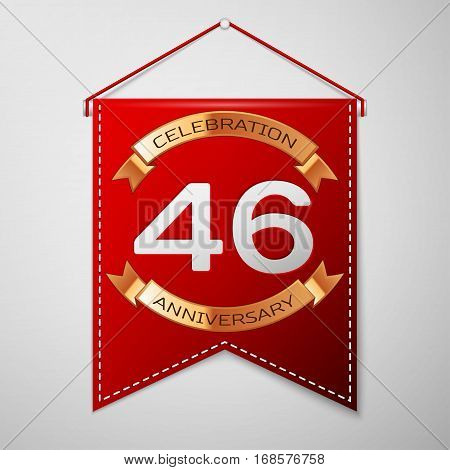 Red pennant with inscription Forty six Years Anniversary Celebration Design over a grey background. Golden ribbon. Colorful template elements for your birthday party. Vector illustration