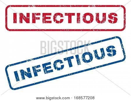 Infectious text rubber seal stamp watermarks. Vector style is blue and red ink tag inside rounded rectangular shape. Grunge design and dust texture. Blue and red emblems.