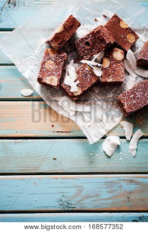 Chocolate fudge with nuts and coconut