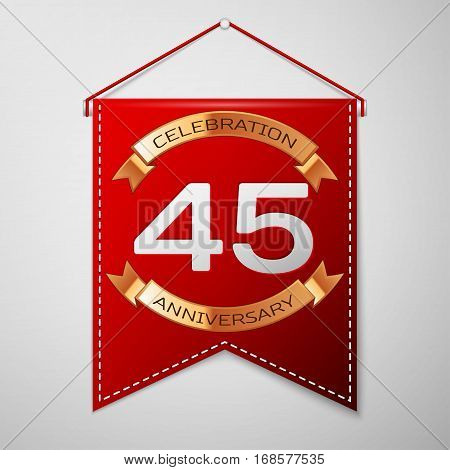 Red pennant with inscription Forty five Years Anniversary Celebration Design over a grey background. Golden ribbon. Colorful template elements for your birthday party. Vector illustration