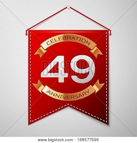 Red pennant with inscription Forty nine Years Anniversary Celebration Design over a grey background. Golden ribbon. Colorful template elements for your birthday party. Vector illustration