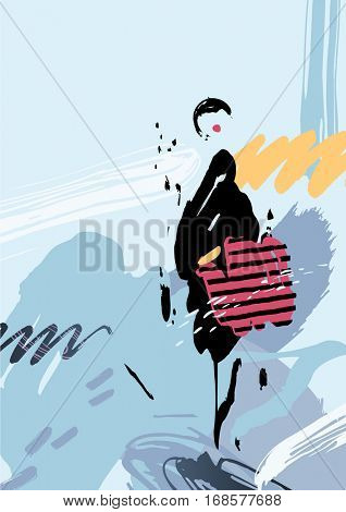 Stylish woman with bag standing on the winter street after shopping. Abstract background and elements formed by artistic blots and stains.