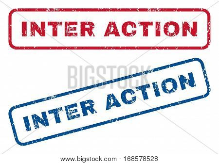 Inter Action text rubber seal stamp watermarks. Vector style is blue and red ink caption inside rounded rectangular banner. Grunge design and dust texture. Blue and red stickers.