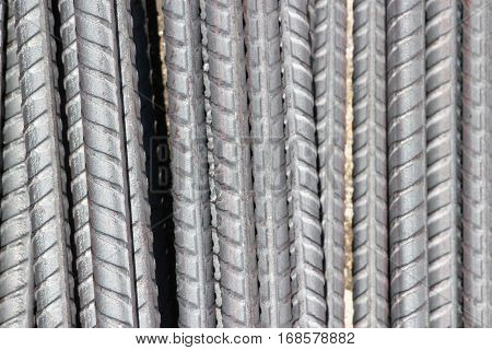 Stock Photo - Steel rods or bars used to reinforce concrete